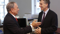 Mayor Mauricio Macri of Buenos Aires (R), meets with Mayor Michael Bloomberg of New York, for a discussion about climate leadership and C40 Cities, in New York