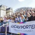 Santilli y Felipe Miguel, en el cierre de campaña de Lucas Portela